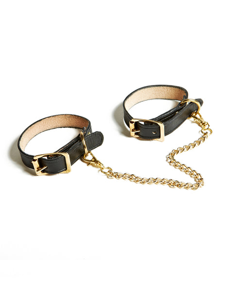 1/2 Inch Leather and Gold Cuffs