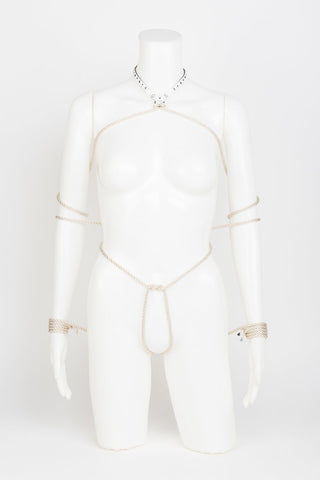 Luxury Laser Cut Bianco Bondage Collar and Rope Set