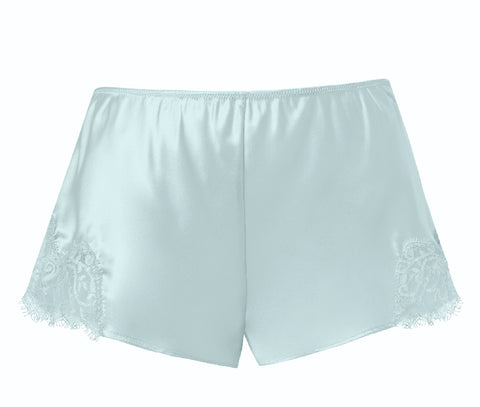 Sainted Sisters Silk Eyelash Lace French Knickers (Oyster Blue)