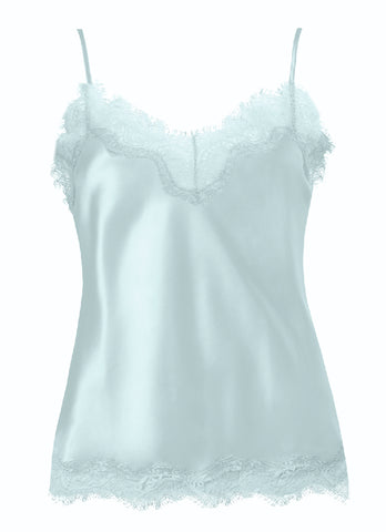 Sainted Sisters Silk Eyelash Lace Cami (Oyster Blue)