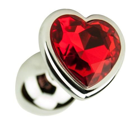 Heart Shaped Crystal Butt Plug Silver