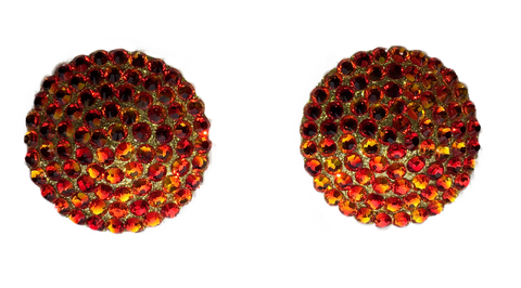 Swarovski Crystal Nipple Pasties in Sunset Red