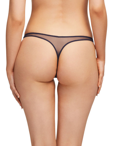 Lurex Navy Iridescent Lace Thong