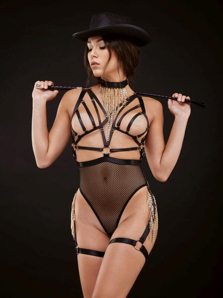 Golden Liberty Chain Harness & Thong Body