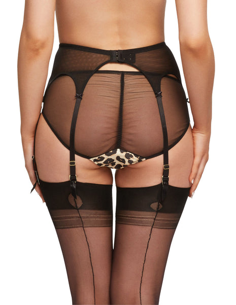 Millicent Leopard Satin & Lace Brief