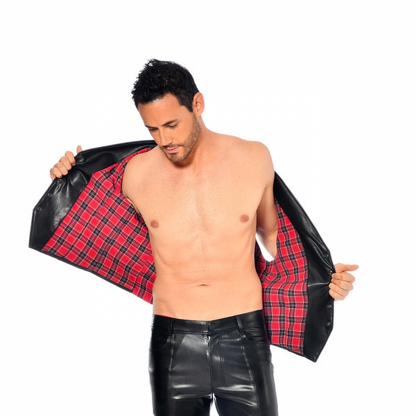 Nikola Fake Leather Gilet Tartan by Patrice Catanzaro