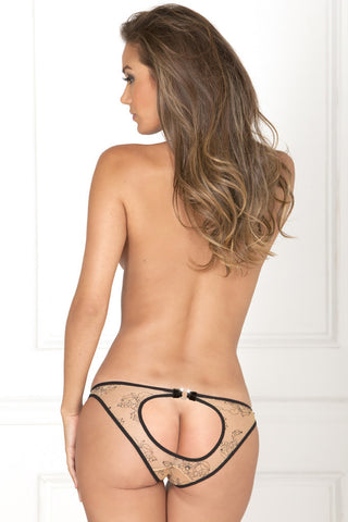 Open Back Panty - Nude Floral Lace - She Said Boutique - 1