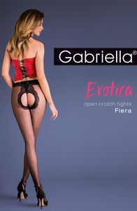 Erotica Red Seem and Black Crotchless Tights