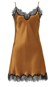 Sainted Sisters Silk Eyelash Lace Chemise Slip (Copper & Noir)