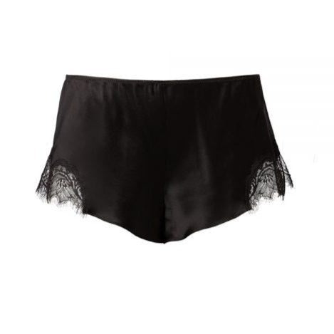 Sainted Sisters Silk Eyelash Lace French Knickers (Noir)
