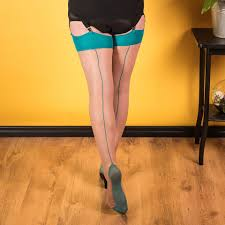 Teal and Nude Stockings