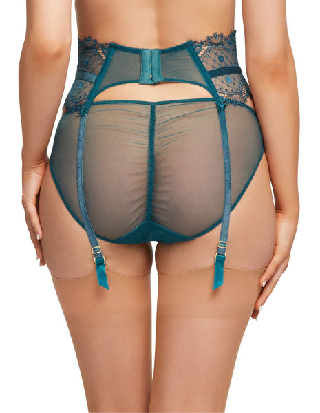 Vedetta Spruce Green Lace Suspender Belt