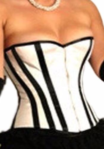 White Satin Corset with Black Stripes - She Said Boutique - 2