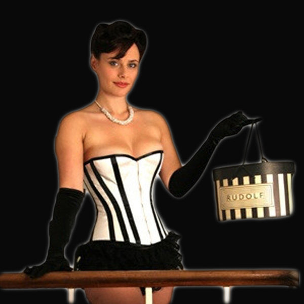 White Satin Corset with Black Stripes - She Said Boutique - 1