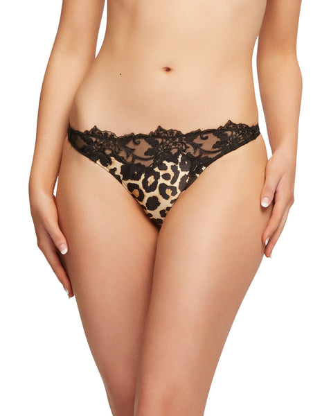 Millicent Leopard Satin & Lace Thong
