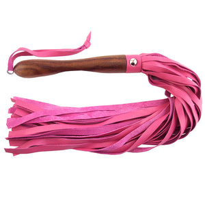 Wooden Handled Pink Leather Flogger