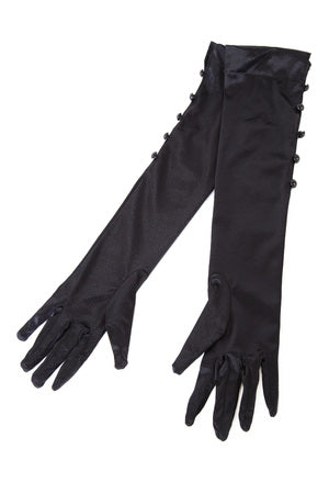 Classic Satin Button Detail Gloves