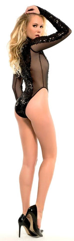 Lola Sequinned Longsleeve Cabaret Body