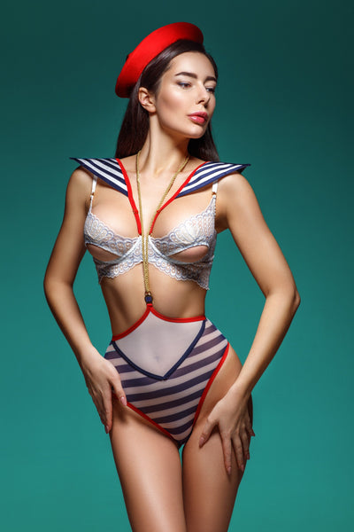 Ahoy Sailor Open Cup Bra, Harness Bodysuit & Hat