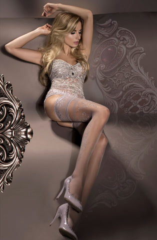 Sheer Grey and Silver Detailed Hold Ups
