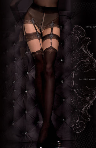 Double Suspender Black and Nude Tights - She Said Boutique - 1