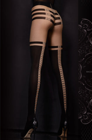 Stunning Black and Nude Printed Tights - She Said Boutique - 1