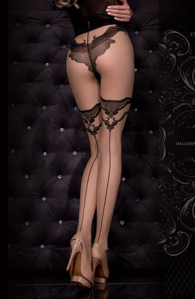 Decorative Black and Nude Printed Tights