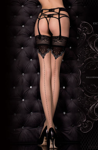Glamourous Black and Nude Seamed Stockings - She Said Boutique - 1
