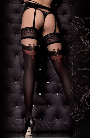 Sexy Black and Red Detailed Stockings - She Said Boutique - 1
