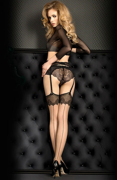 Sexy Ornate Sheer Hold Ups