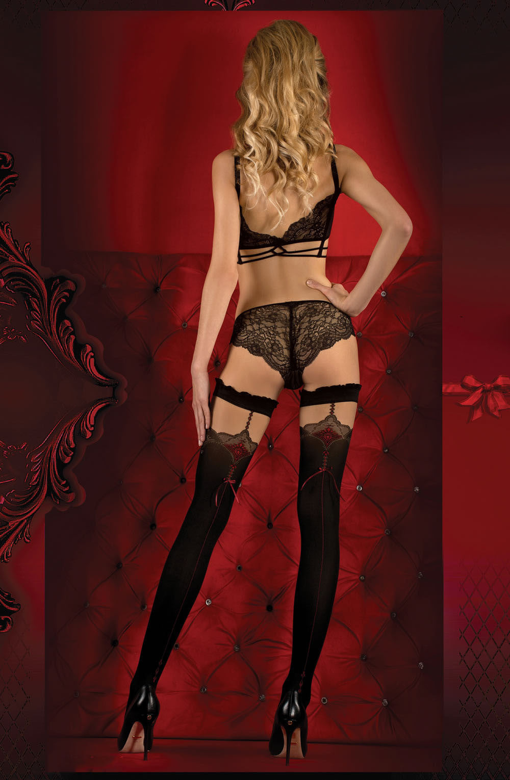 Red Bow and Black Detailed Hold Ups - She Said Boutique