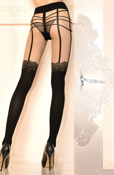 Decorative Black and Nude Tights