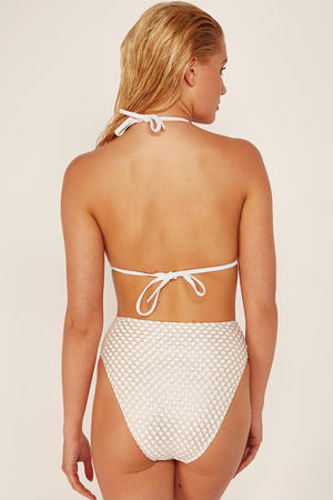 Highwaist Bikini Brief White & Gold Fishnet