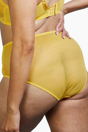 Emma Lace Mustard Highwaist Briefs (8-20)