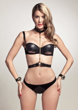 Leather Collar and Belt Chain Harness