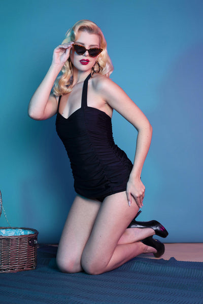 Retro Pin Up Classic Black Skirted Swimming Costume (sizes 8-22)