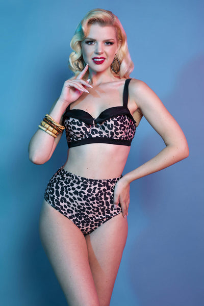 Retro Pin Up Highwaist Bikini Brief Classic Leopard