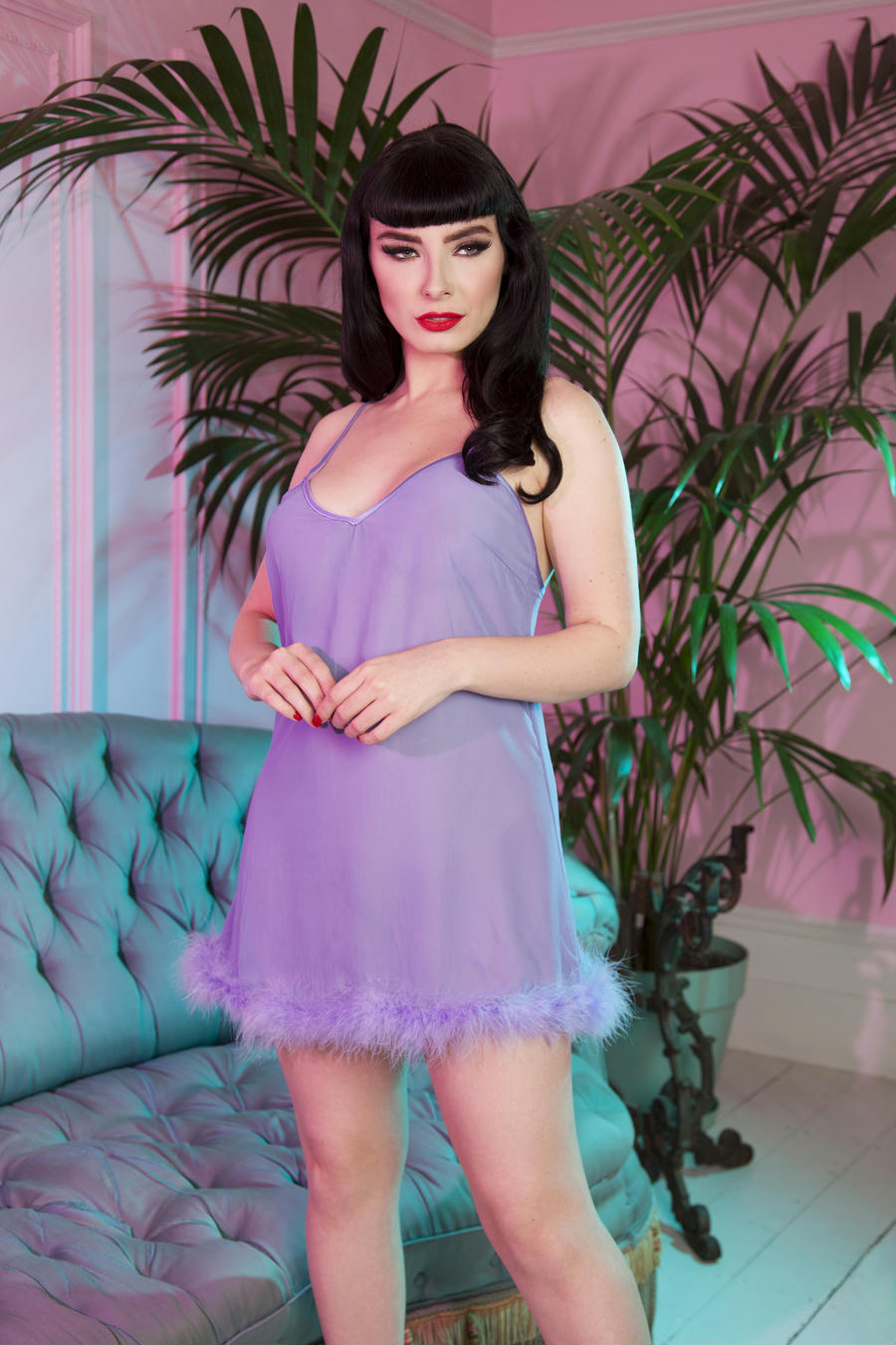 Marabou Feather Trim Sheer Lilac Slip