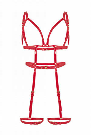 Caged Body & Leg Harness - Red