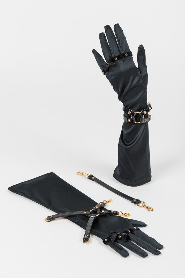 Satin & Black Patent Leather Handcuff Gloves by Fräulein Kink - She Said Boutique - 1