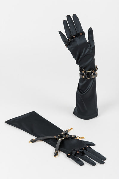 Satin & Black Patent Leather Handcuff Gloves by Fräulein Kink - She Said Boutique - 4