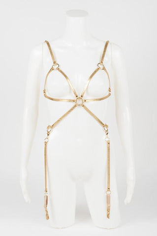 Champagne Leather Playsuit Harness by Fräulein Kink