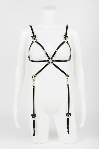 Noir Jet Playsuit Harness by Fräulein Kink