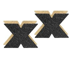 BIJOUX Flash Black / Gold Cross Nipple Covers