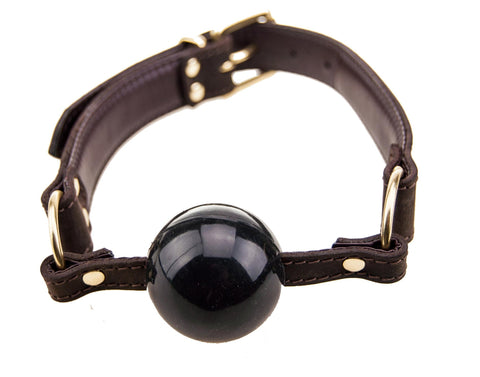 Nubuck Brown Leather and Gold Ball Gag
