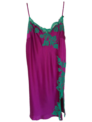 Fuchsia and Teal Marjolaine Silk Slip with Lace Applique