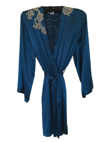 Celeste Silk Robe with Smoke Lace Applique by Marjolaine