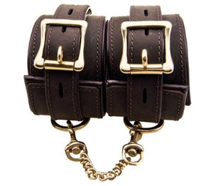 Pleasure Bound Nubuck Leather and Gold Wrist Cuffs - She Said Boutique - 1