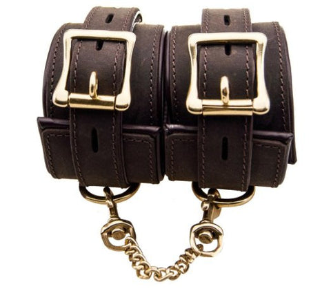 Pleasure Bound Nubuck Leather and Gold Ankle Cuffs - She Said Boutique - 1