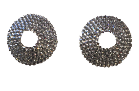 Crystal Open Nipple Pasties in Silver